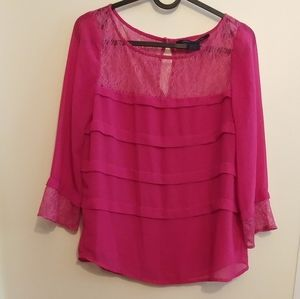 French Connection Pink Long Sleeve Lace Top